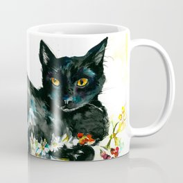 Coffee, Orchid and Black Cat Vintage Style Large Format XXL Coffee Mug