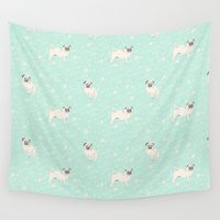 pugs Wall Tapestries featuring Pugs  by Luiza Sequeira