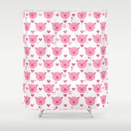 Cute Pink Piggy Faces Pig Pattern Shower Curtain