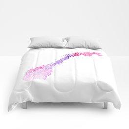 Typographic Norway pink watercolor European map art Comforters
