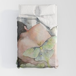 Sleeping in the Forest, Luna Moth Girl with Dark Hair Comforters