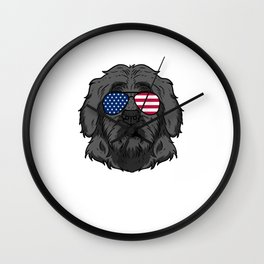 Patriotic America Portuguese Water Dog Lover Gift Wall Clock