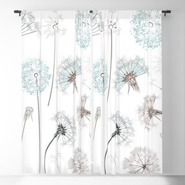Hand drawn vector dandelions in rustic style Blackout Curtain