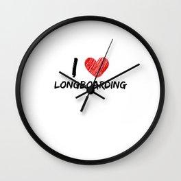 I Love Longboarding Wall Clock