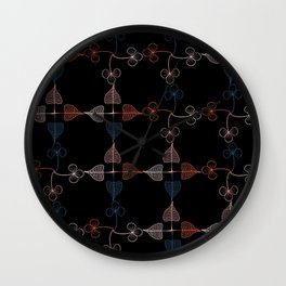Vintage leaves pattern in black background Wall Clock