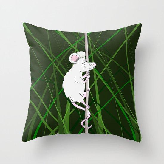 Cartoon Mouse Climbing in Grass Throw Pillow
