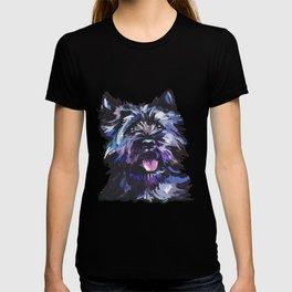 Fun Black Cairn Terrier bright colorful Pop Art Dog Portrait by LEA T-shirt