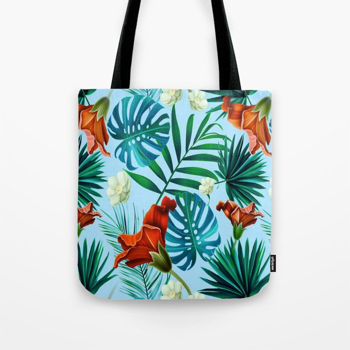 Sky blue tropical floral Tote Bag