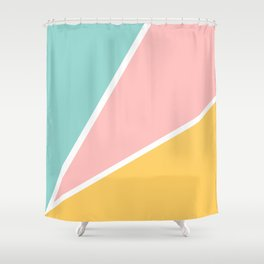 Tropical summer pastel pink turquoise yellow color block geometric pattern Shower Curtain
