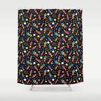 rush Shower Curtains featuring Rocket Rush by Art Tree Designs