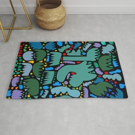 Jungle Pop Night Abstract Pattern Rug