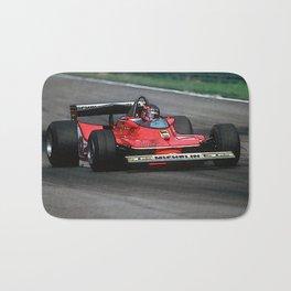Sketch of F1 Champion Gilles Villeneuve - year 1979 car 312 T4 Bath Mat