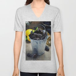 Fresh  mussels ready for cooking on wooden background Unisex V-Neck