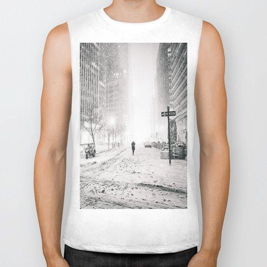 New York City Snow in Times Square Biker Tank