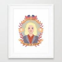 heymonster Framed Art Prints featuring Leslie Knope by heymonster