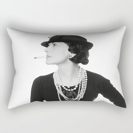 Fashion Icon, French Woman with Pearls, Black and White Art Rectangular Pillow
