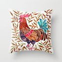 Le Coq – Watercolor Rooster with Sepia Leaves by catcoq
