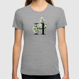 Letter 'H' Helleborus Flower Typography T-shirt