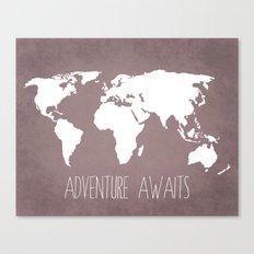 Adventure Awaits World Map Canvas Print