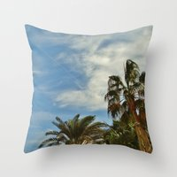 palms Throw Pillows featuring Palms by Magic Emilia