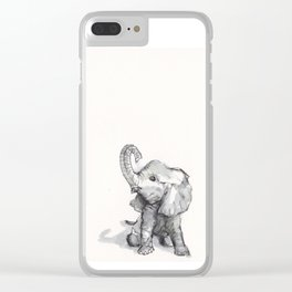 tiny elephant sitting in the corner Clear iPhone Case