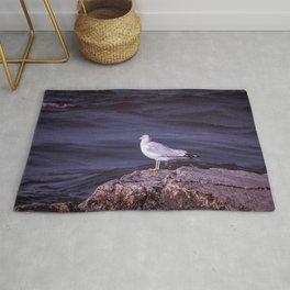 Single Sea Gull on Lake Michigan Stone Shore Rug