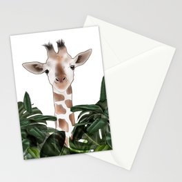 Giraffe above the trees Stationery Cards