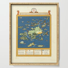 Vintage Map Print - 1924 fantasy pictorial map - The Forty Isles Serving Tray