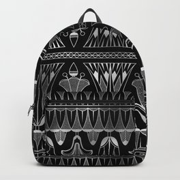 Silver and Black Glitzy Glam Ornate Art Deco Backpack