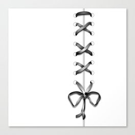 Laced Gray Ribbon on White Canvas Print
