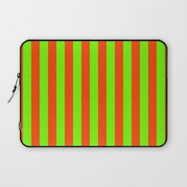 Super Bright Neon Orange and Green Vertical Beach Hut Stripes Laptop Sleeve