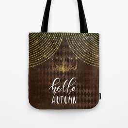 Hello Autumn Diamond Background Tote Bag