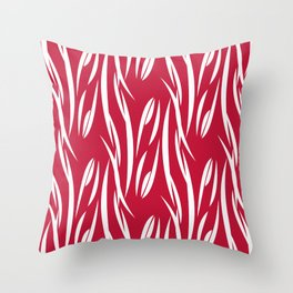White pattern on red background. Throw Pillow