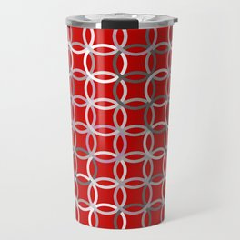 Mid-Century Modern Circles, Deep Red and Grey Travel Mug