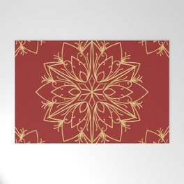 Golden Snowflake Welcome Mat