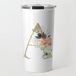"Letter ""A"" Monogram, Gold Leaf and Watercolor Flowers Travel Mug"