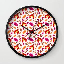 Pretty beautiful cute little birds, orange red delicate leaves, plants seamless pattern. Warm colors Wall Clock