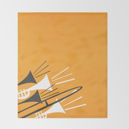Brass Instruments Throw Blanket