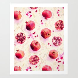 Painted Pomegranates with Gold Leaf Pattern Art Print
