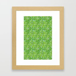 Funny green frogs entangled in a messy pattern Framed Art Print