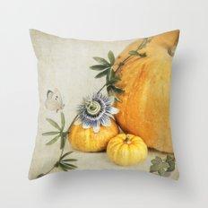 pumpkin & passiflora Throw Pillow