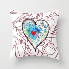 scribble heart Throw Pillow