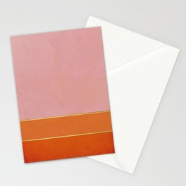 Orange, Pink And Gold Abstract Painting Stationery Cards