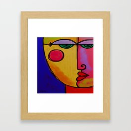 Colorful Abstract Face Digital Painting Framed Art Print