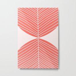 Minimal Fall Leaf - Soft Coral Metal Print