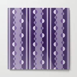 Modern Circles and Stripes in Violet Metal Print