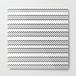 Abstract black white simple chevron zigzag geometric lines Metal Print