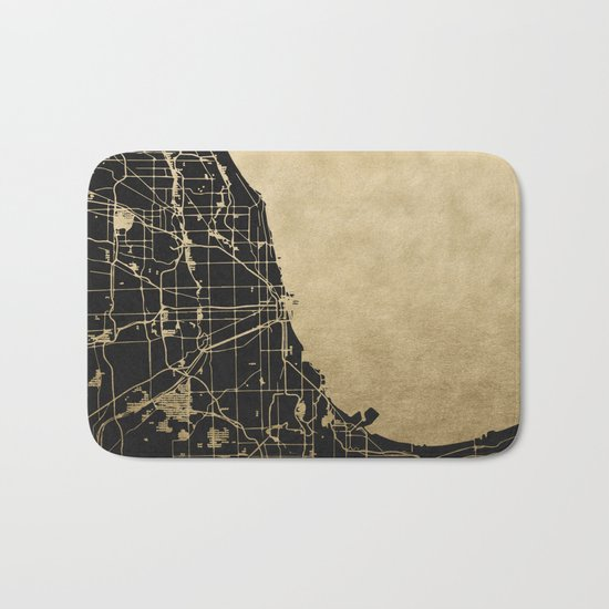 Chicago Black and Gold Street Map Bath Mat