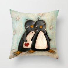 Penguin love -  Throw Pillow