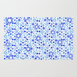 Dynamic Blue Stars of David Pattern Rug